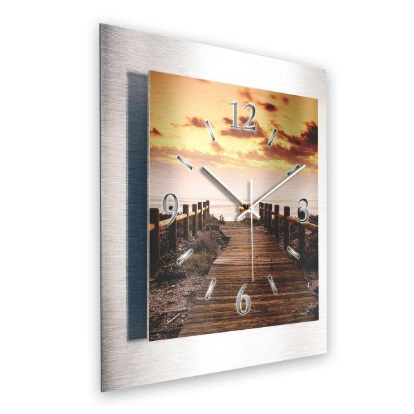 """3D Wanduhr """"Pfad in den Sonnenuntergang"""" aus gebürstetem Aluminium mit leisem Funk- oder Quarzuhrwer"""
