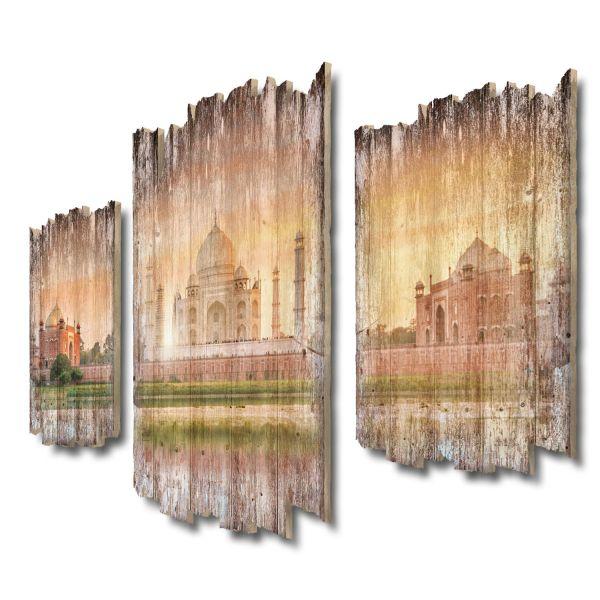 Taj Mahal Shabby chic 3-Teiler Wandbild aus Massiv-Holz