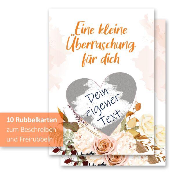 """""""Blumenstrauß"""" Rubbelkarten im 10er Set mit Umschlägen und Rubbelstickern"""