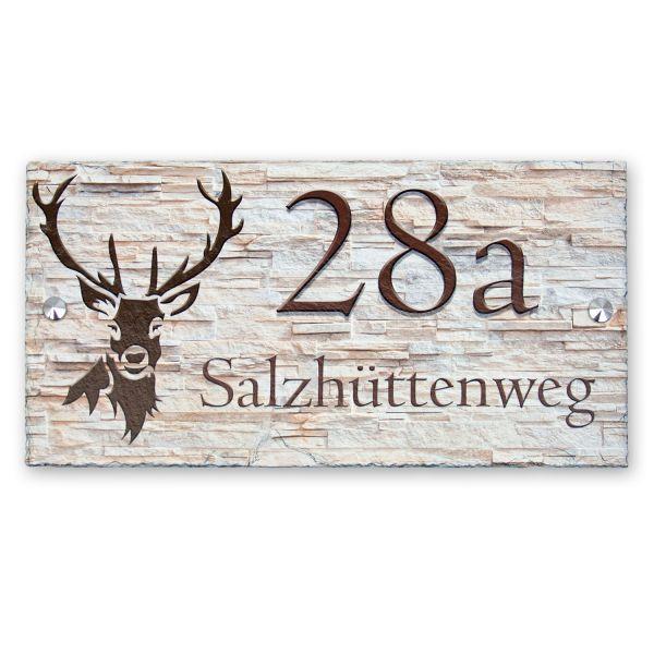 """Hausnummerschild """"Hirsch"""" aus Naturschiefer"""