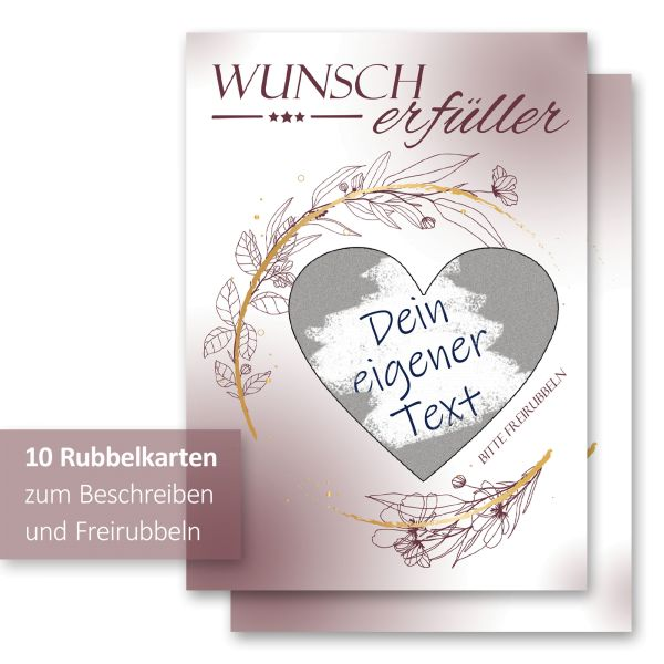 """""""Wunscherfüller"""" Rubbelkarten im 10er Set mit Umschlägen und Rubbelstickern"""