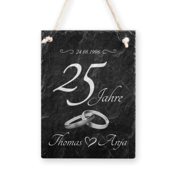 Hochzeitsjubiläum | Schild aus Schiefer mit Ihrem Wunschtext | in Schwarz