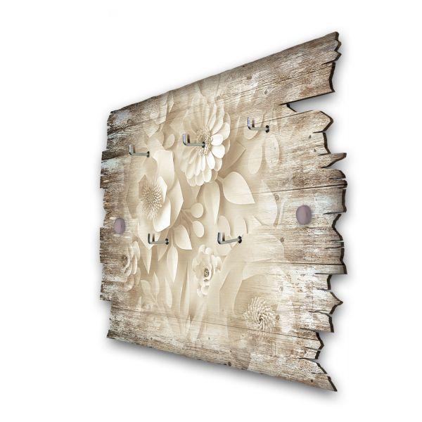 Papierblumen Schlüsselbrett mit 5 Haken im Shabby Style aus Holz