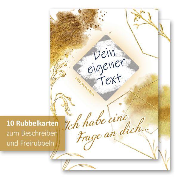 """""""Goldstaub"""" Rubbelkarten im 10er Set mit Umschlägen und Rubbelstickern"""