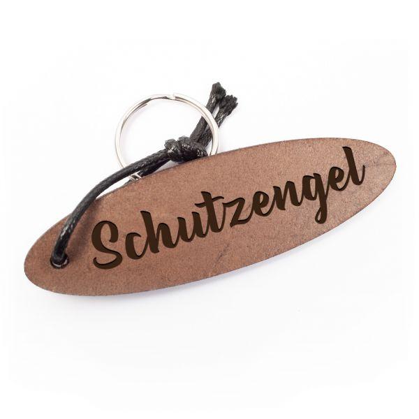 Schlüsselanhänger oval aus Echtleder mit Gravur im Used Look | Schutzengel