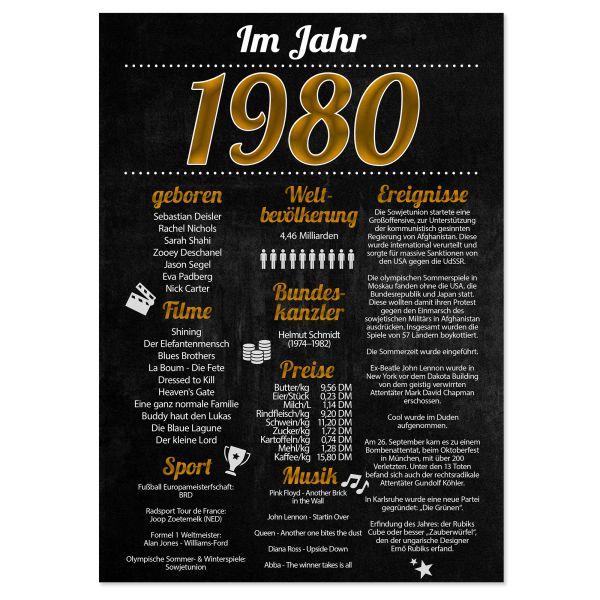 1980 Poster | für Geburtstag, Jubiläum oder Hochzeitstag | Party-Schild | A4 oder A3