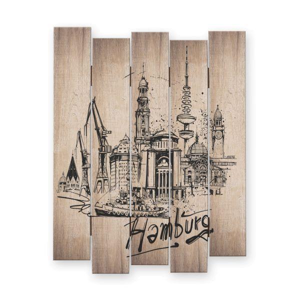 Hamburg | Shabby chic Holzbild | ca.60x44cm