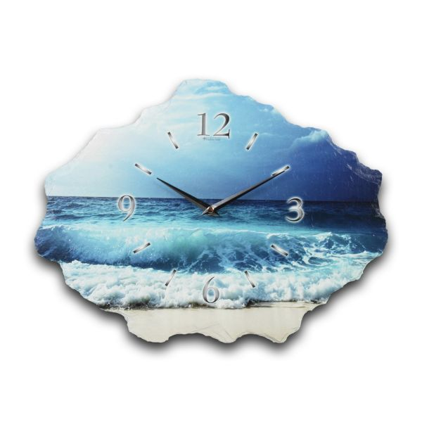 Ocean Designer Funk-Wanduhr aus echtem Naturschiefer mit leisem Funk- oder Quarzuhrwerk