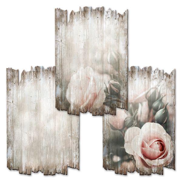 Rosen | Deko-Holzschilder im 3er Set | wahlw. in 30x20cm oder 30x45cm