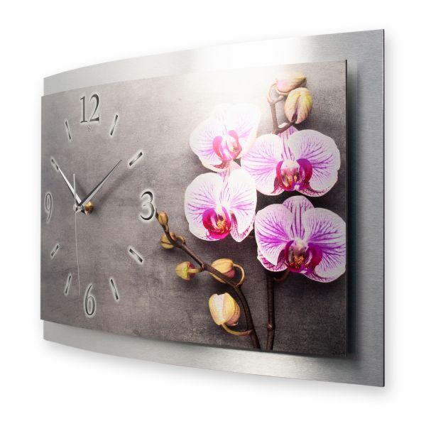 """3D Wanduhr """"Orchidee"""" aus gebürstetem Aluminium mit leisem Funk- oder Quarzuhrwerk"""