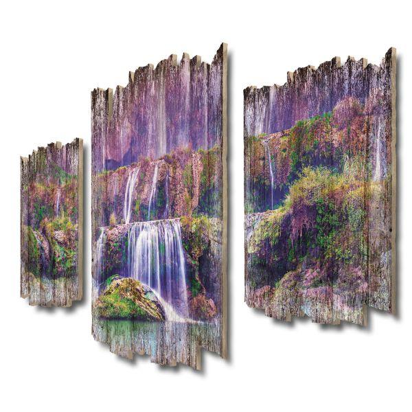 Lila Wasserfall Shabby chic 3-Teiler Wandbild aus Massiv-Holz
