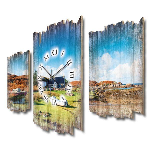 Isle of Mull Schottland Shabby chic Dreiteilige Wanduhr aus MDF mit leisem Funk- oder Quarzuhrwerk