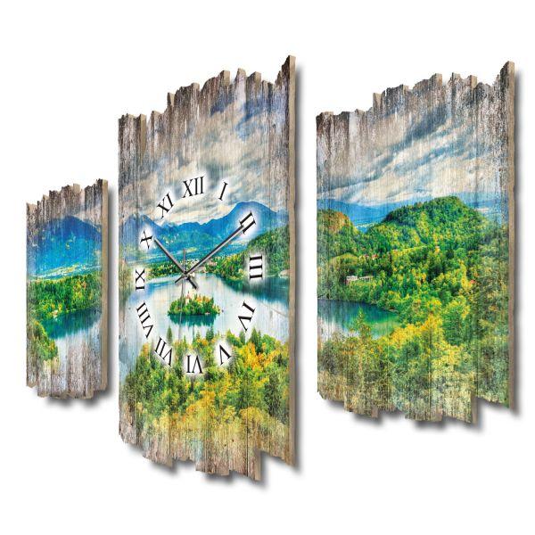 Bleder See Slowenien Shabby chic Dreiteilige Wanduhr aus MDF mit leisem Funk- oder Quarzuhrwerk