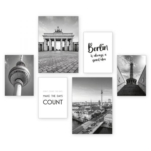 """Berlin"" 6-teiliges Poster-Set - optional mit Rahmen - 2 x DIN A3 & 4 x DIN A4"