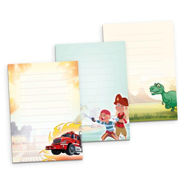 3er Briefpapier-Set für Kinder | Abenteuer | 3 DIN A5 Briefpapier-Blöcke à 50 Blatt
