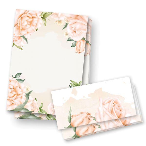 Briefpapier-Set | Rosen | 25x DIN A4 Briefpapier mit passenden Umschlägen