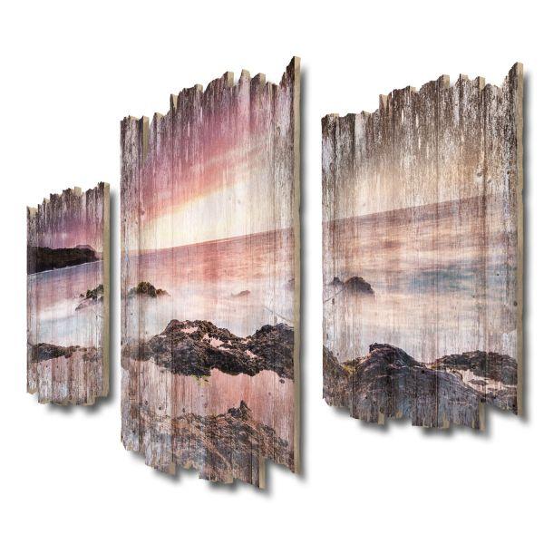 Küste Teneriffa Shabby chic 3-Teiler Wandbild aus Massiv-Holz