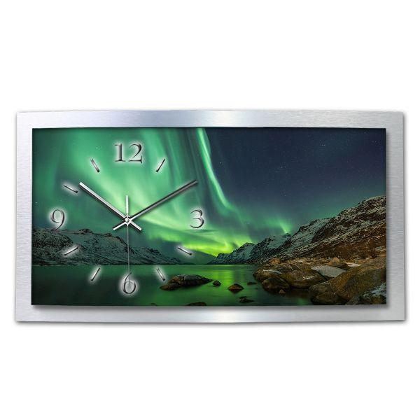 B-Ware 3D Wanduhr Polarlicht XXL aus gebürstetem Aluminium mit leisem Funkuhrwerk