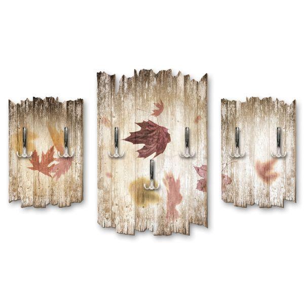 Herbstblätter Shabby chic 3-Teiler Garderobe aus MDF
