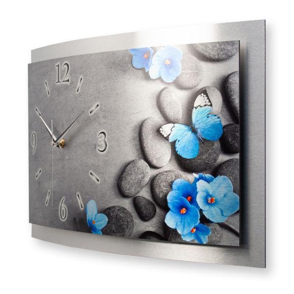 """3D Wanduhr """"Blauer Schmetterling"""" aus gebürstetem Aluminium mit leisem Funk- oder Quarzuhrwerk"""
