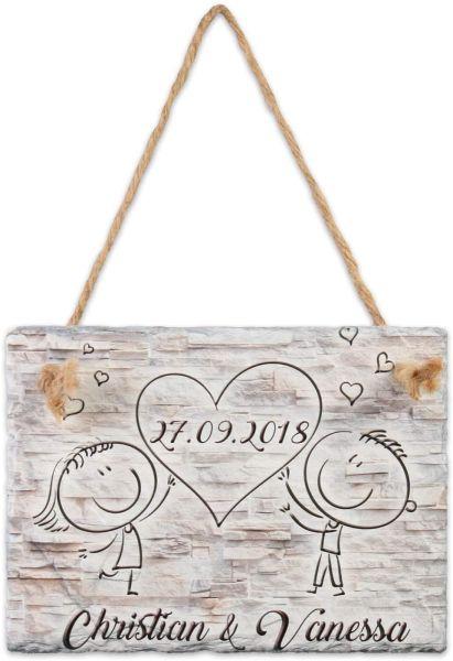 Love | Türschild aus Schiefer mit Ihrem Wunschtext | in Beige oder Schwarz