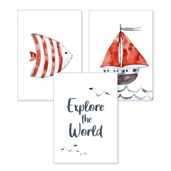 3-teiliges Poster-Set   Explore   optional mit Rahmen   DIN A4 oder A3
