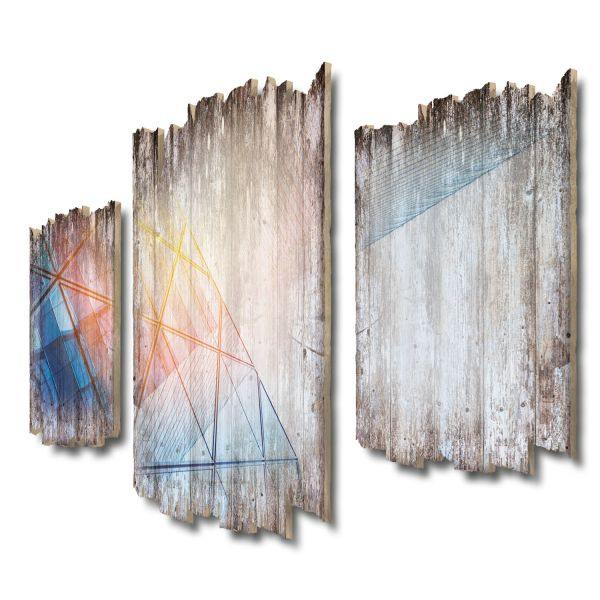 Glasfassade Shabby chic 3-Teiler Wandbild aus Massiv-Holz