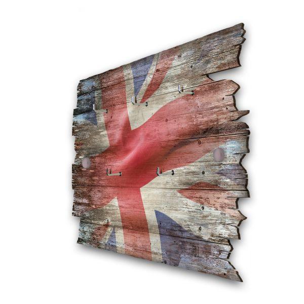 Großbritannien Schlüsselbrett mit 5 Haken im Shabby Style aus Holz