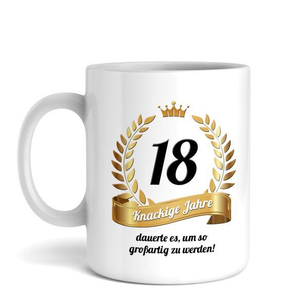 Tasse mit Motiv | Knackige Jahre | Keramiktasse | fasst ca. 300ml | ideales Geburtstagsgeschenk
