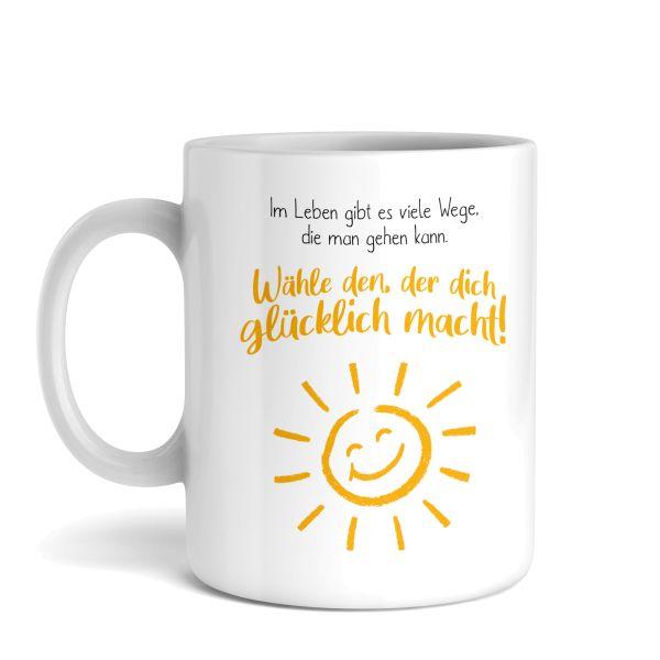 Tasse mit Motiv | Glücklich | Keramiktasse | fasst ca. 300ml | ideales Geschenk