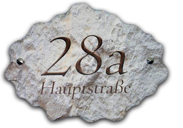 """Hausnummerschild """"Raute"""" aus Naturschiefer in Grau Beige oder Schwarz"""