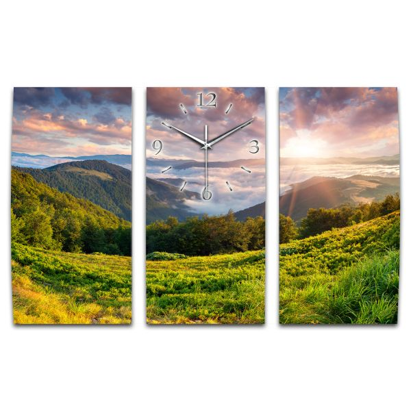 3 Teilige Wanduhr Landschaft Natur XXL aus Aluminium mit leisem Funkuhrwerk