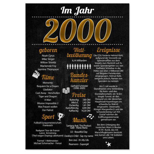 2000 Poster | für Geburtstag, Jubiläum oder Hochzeitstag | Party-Schild | A4 oder A3