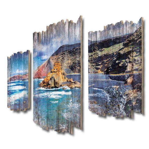 Schwarzer Strand Lanzarote Shabby chic 3-Teiler Wandbild aus Massiv-Holz