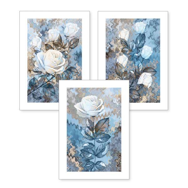 3-teiliges Poster-Set   Eisige Rosen   optional mit Rahmen   DIN A4 oder A3