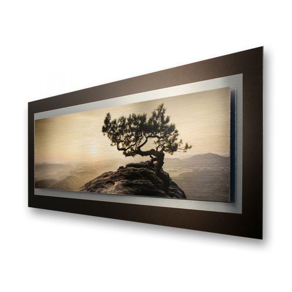 "3D Alu-Wandbild ""Einsamer Baum"" aus gebürstetem Aluminium"