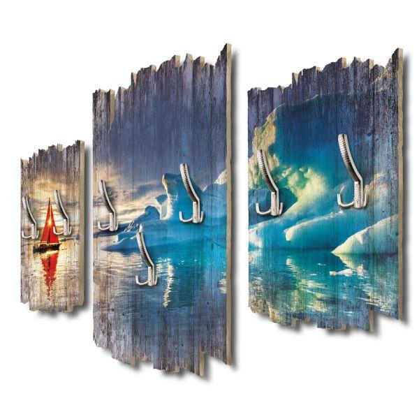 Rotes Segelboot im Eismeer Shabby chic 3-Teiler Garderobe aus MDF