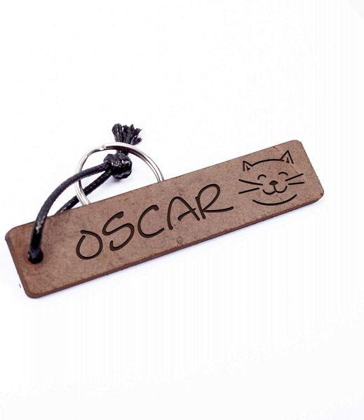 Katze | Schlüsselanhänger aus Echtleder mit Gravur im Used Look | Personalisiert mit Namen