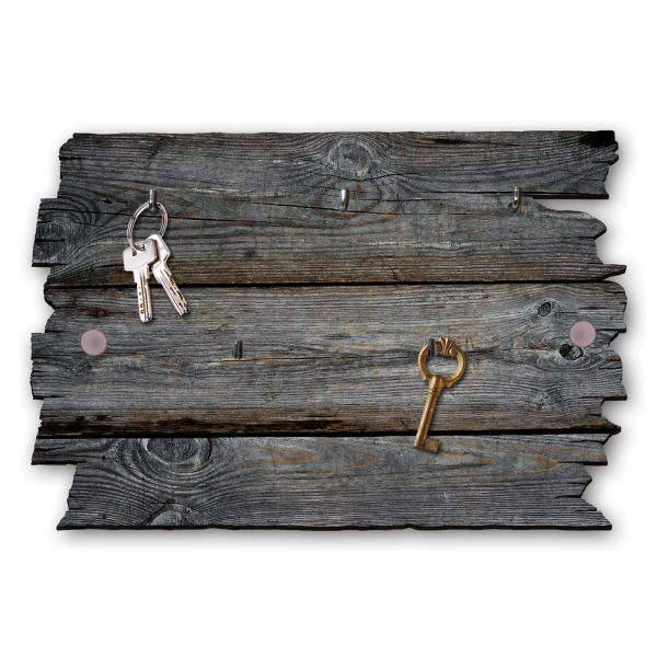 Holzstruktur dunkel Schlüsselbrett mit 5 Haken im Shabby Style aus Holz
