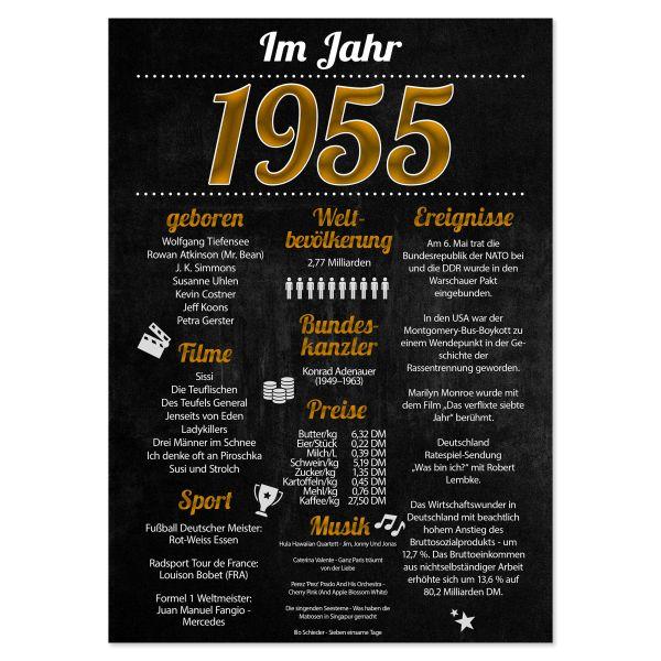 1955 Poster | für Geburtstag, Jubiläum oder Hochzeitstag | Party-Schild | A4 oder A3