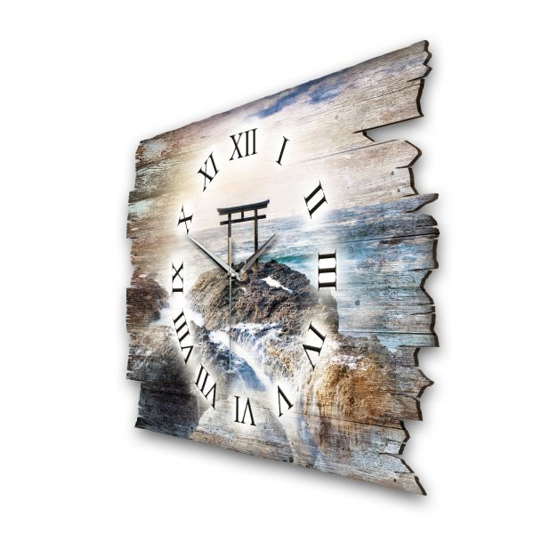 """Designer Funk-Wanduhr """"Torii Tor im Meer"""" aus Naturholz mit leisem Funk- oder Quarzuhrwerk"""