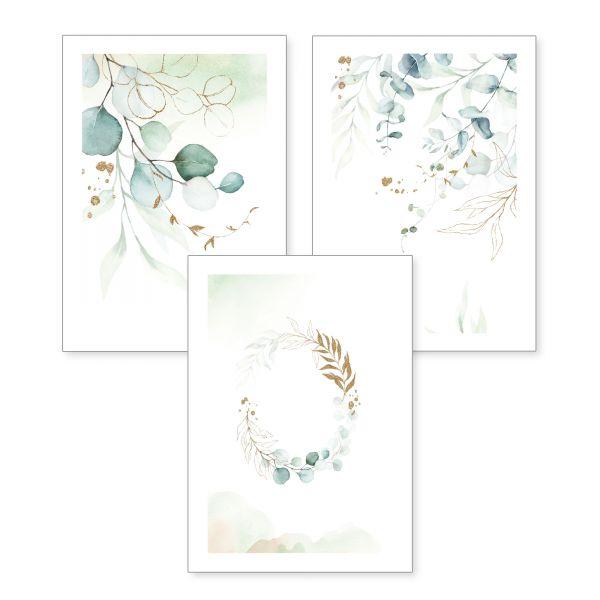 3-teiliges Poster-Set | Zweige und Blätter | optional mit Rahmen | DIN A4 oder A3