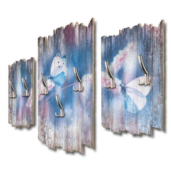 Schmetterlinge im Schnee Shabby chic 3-Teiler Garderobe aus MDF