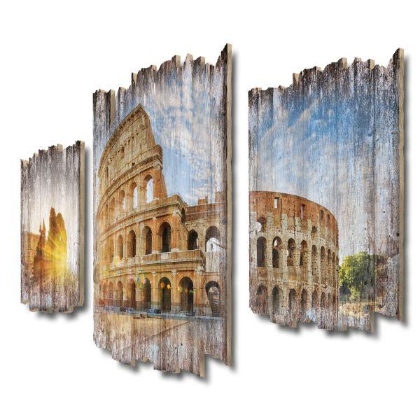 Kolosseum Shabby chic 3-Teiler Wandbild aus Massiv-Holz