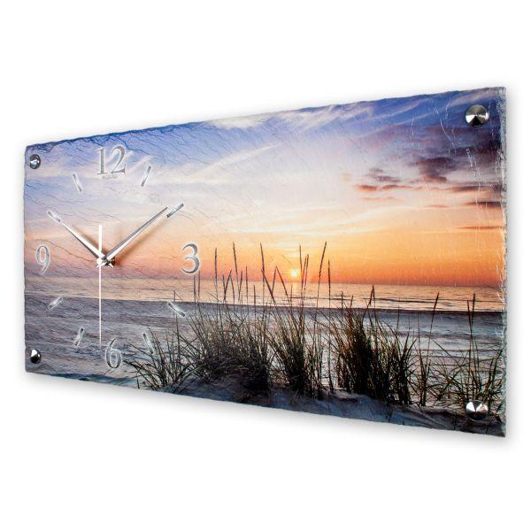 """Designer Wanduhr """"Sanddüne"""" aus echtem Naturschiefer mit leisem Funk- oder Quarzuhrwerk"""