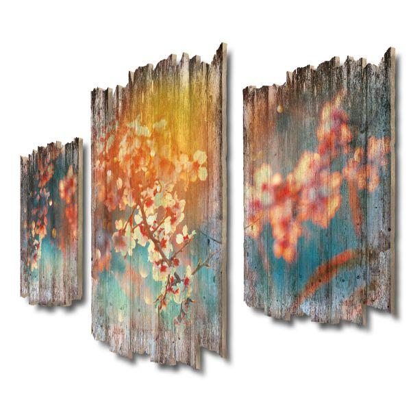 Aprikosenblüten Shabby chic 3-Teiler Wandbild aus Massiv-Holz