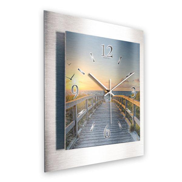 """3D Wanduhr """"Weg zum Meer"""" aus gebürstetem Aluminium mit leisem Funk- oder Quarzuhrwerk"""