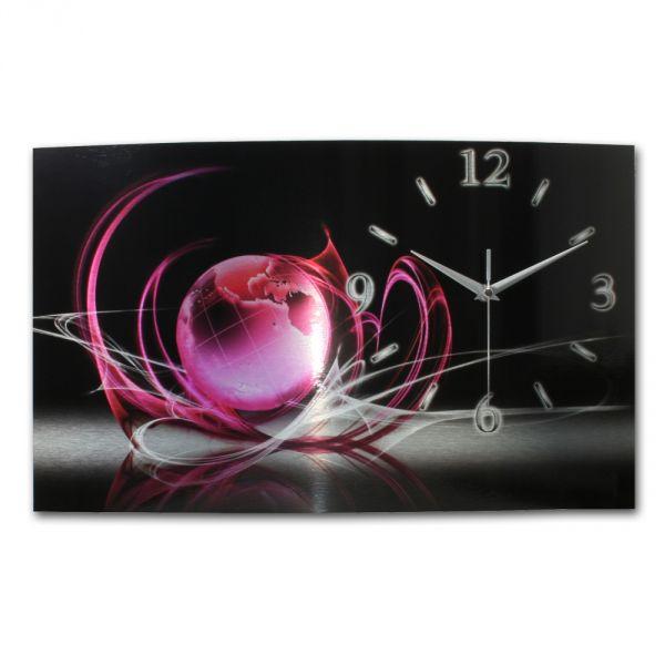 Wanduhr Welt Pink aus gebürstetem Aluminium mit leisem Funkuhrwerk