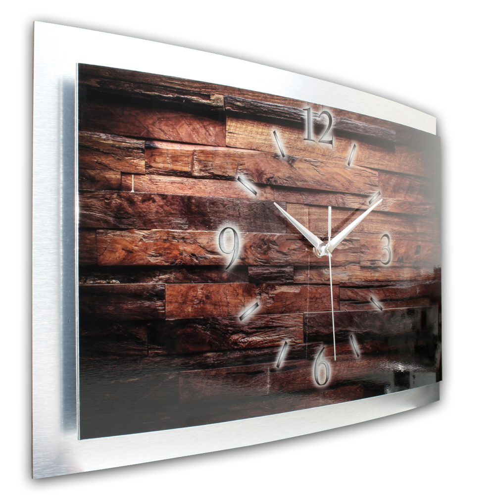 3d wanduhr metallic holz waa013. Black Bedroom Furniture Sets. Home Design Ideas