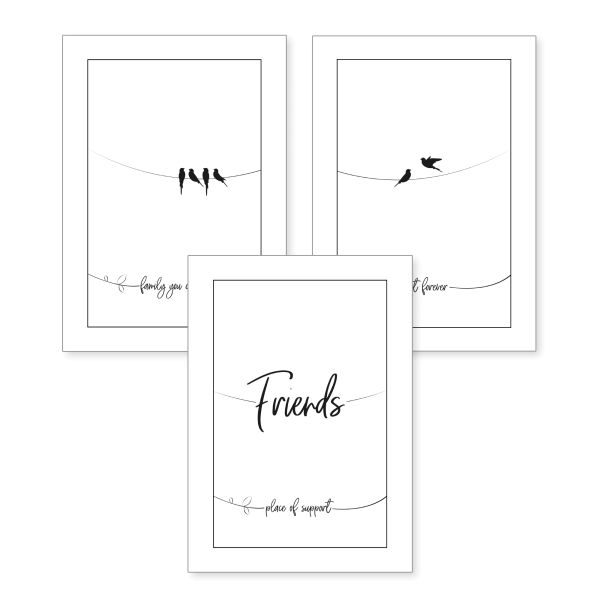 3-teiliges Poster-Set | Friends | optional mit Rahmen | DIN A4 oder A3